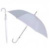 Зонт-трость с пластиковой изогнутой ручкой, полуавтомат, цвет ручки и купола белый
