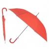 Зонт-трость с пластиковой изогнутой ручкой, полуавтомат, цвет ручки и купола красный Red 032 С