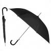 Зонт-трость с пластиковой изогнутой ручкой, полуавтомат, цвет ручки и купола чёрный