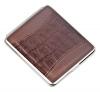 Портсигар S.Quire, сталь+натуральная кожа, коричневый цвет с рисунком, 74*95*18 мм
